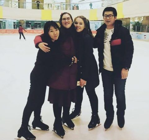 Alana and Vera Ice skating with Teacher Felix and Lucy